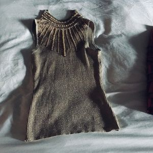 Cache Beaded Gold Sweater